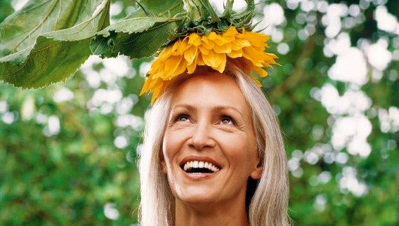 Bild Frau Sonnenblume Happiness